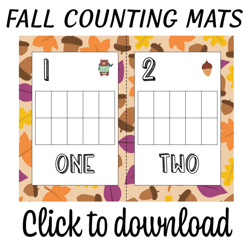 Preview image of fall counting mat for one and two with text overlay to click to download printables