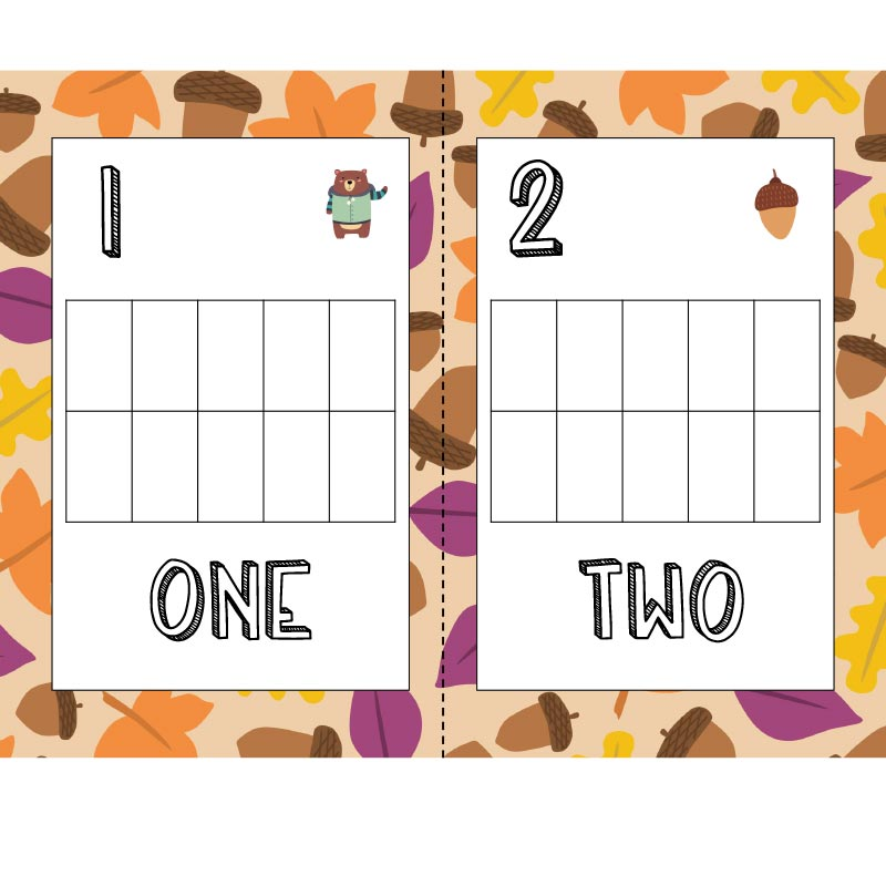 Preview of fall ten frame counting mat one and two with leaf border