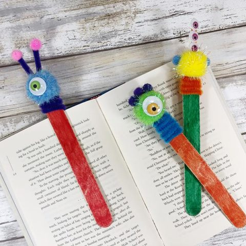 Monster Craft Stick Bookmarks Craft