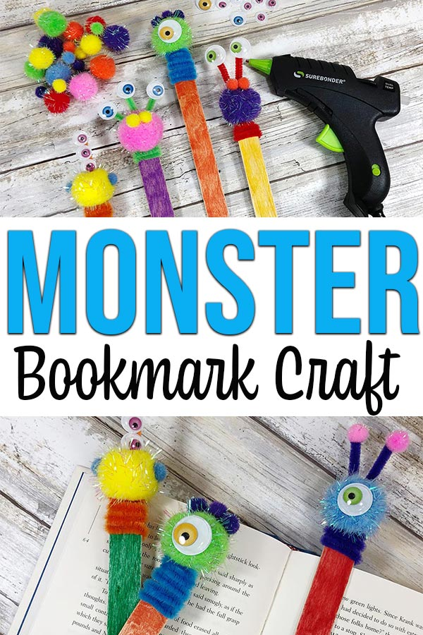 collage of completed monster bookmark crafts laying on top of an open book.