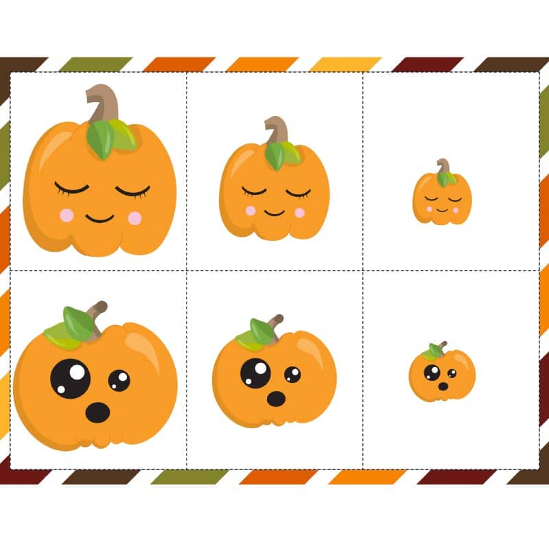 Cute pumpkins with faces for kids activity