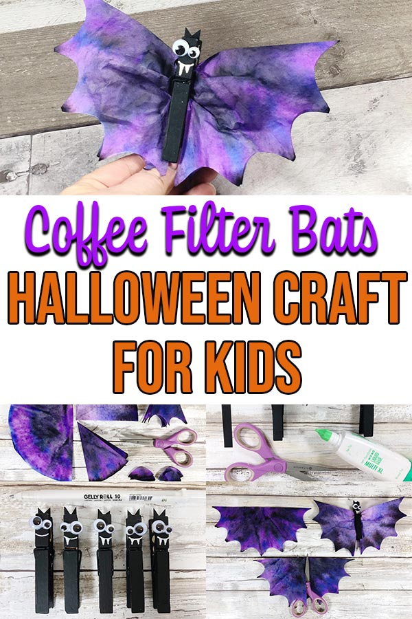 Collage of coffee filter bat craft tutorial steps and finished bat