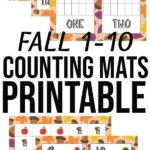 Collage of preview images of printable fall themed counting mats