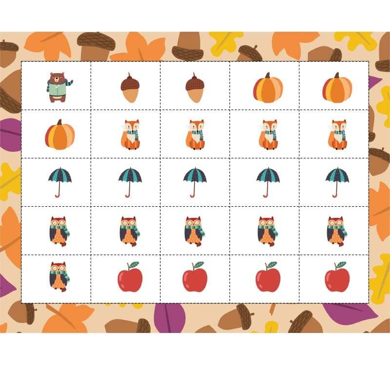 Fall counting tokens with pictures of a bear, acorns, pumpkins, foxes, umbrellas, owls, and apples