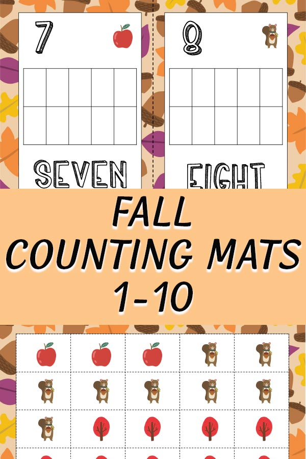 Counting mats 7 and 8 with leaves and apples preview images of printable packet