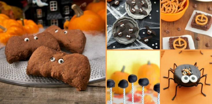 Photo collage of bats and spiders themed desserts