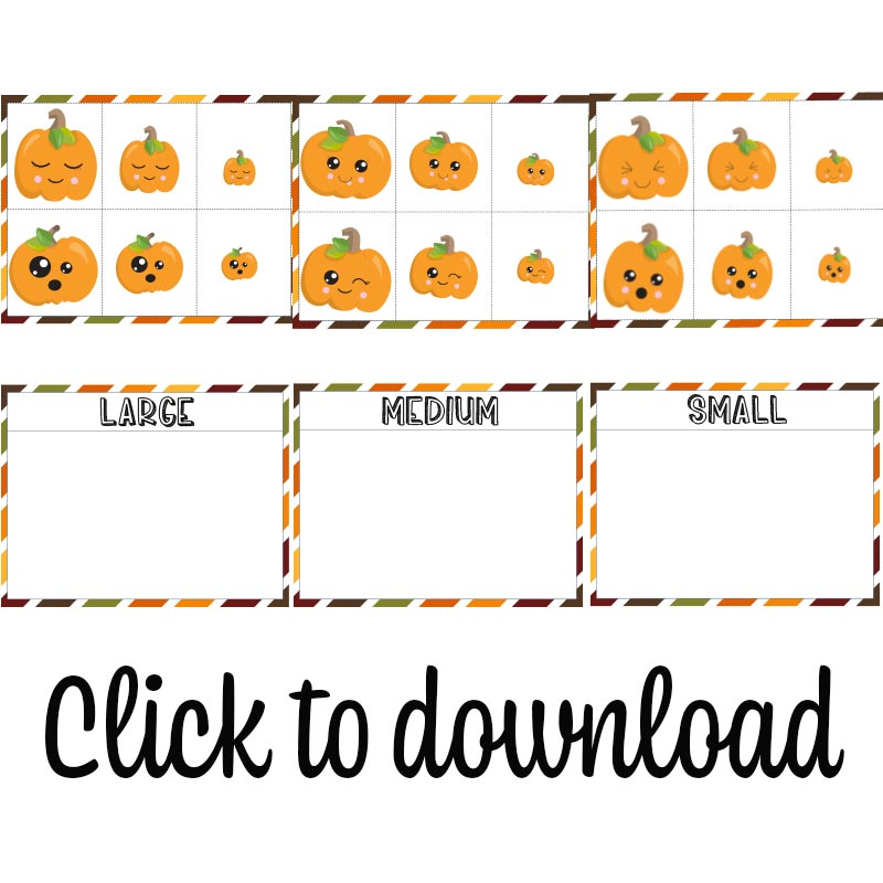 Preview images of printable pumpkin sorting activity with text overlay to click to download