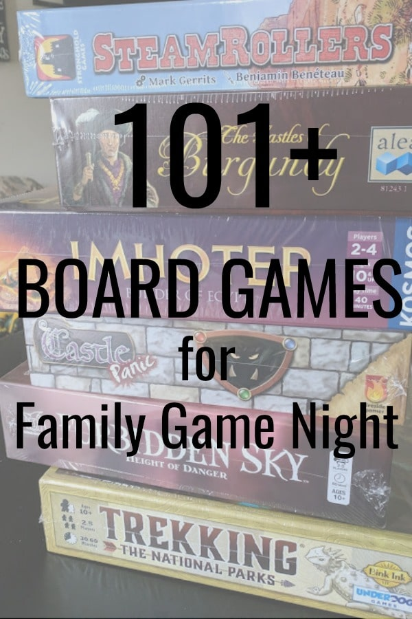Stack of board games on a table with text overlay. Games in stack are SteamRollers, Castles of Burgundy, Imhotep, Castle Panic, Forbidden Sky, and Trekking the National Parks.