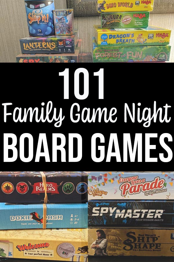 Collage of stacks of family board games