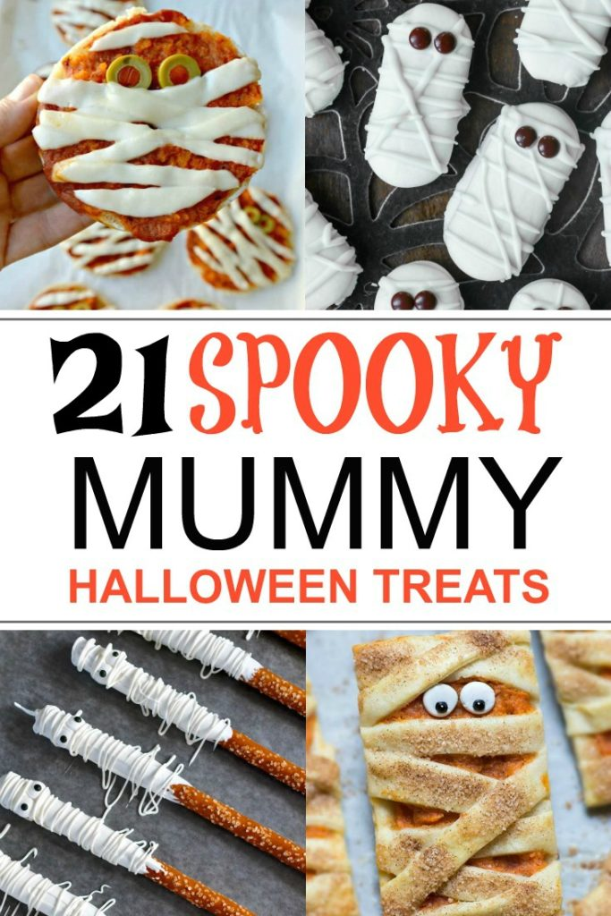 Collage of Mummy themed foods for Halloween Parties.