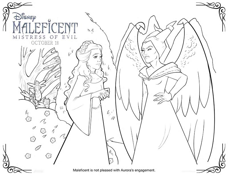 Coloring page image preview of Aurora and Maleficent
