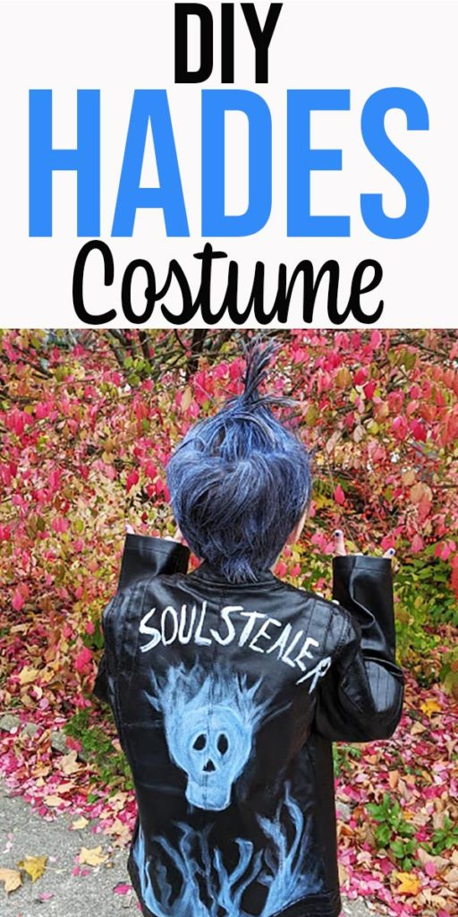 Back view of homemade Hades inspired Halloween costume.