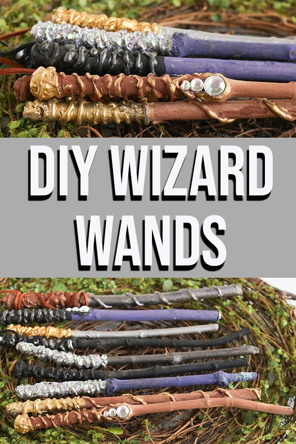 Collage of completed wand crafts