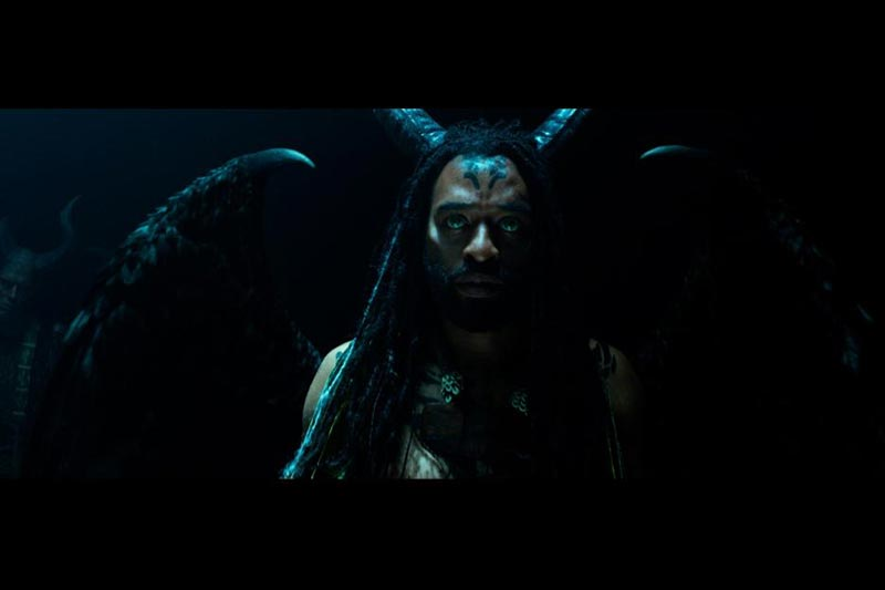 Dark Fey leader in dark area from Maleficent Mistress of Evil movie
