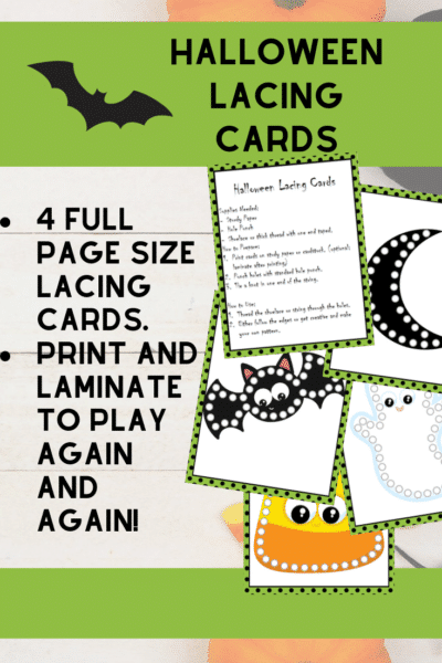 Collage of preview images of printable lacing cards and text overlay