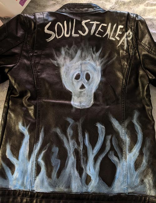 Completed fake leather jacket painted for Hades costume.