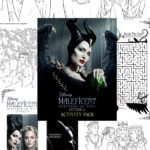 Collage of images of printable coloring pages for Maleficent 2 movie