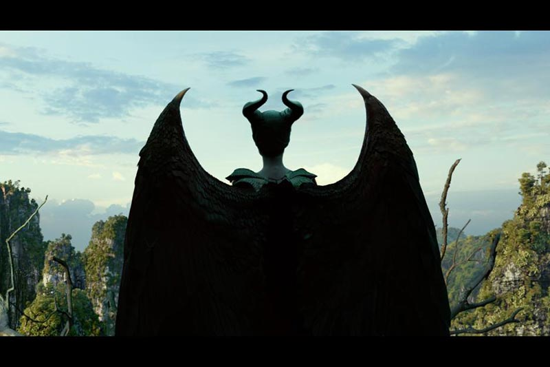 Back of Maleficent and her wings. Still from Maleficent 2 movie