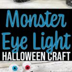 Collage of completed blue and red monster eye ball light projects