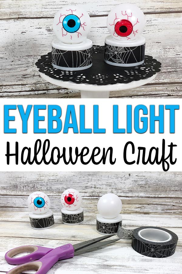Collage with top image with close up of two completed monster eyeball light crafts on a cake stand. Bottom image shows three eyeball lights with washi tape being added to third one.