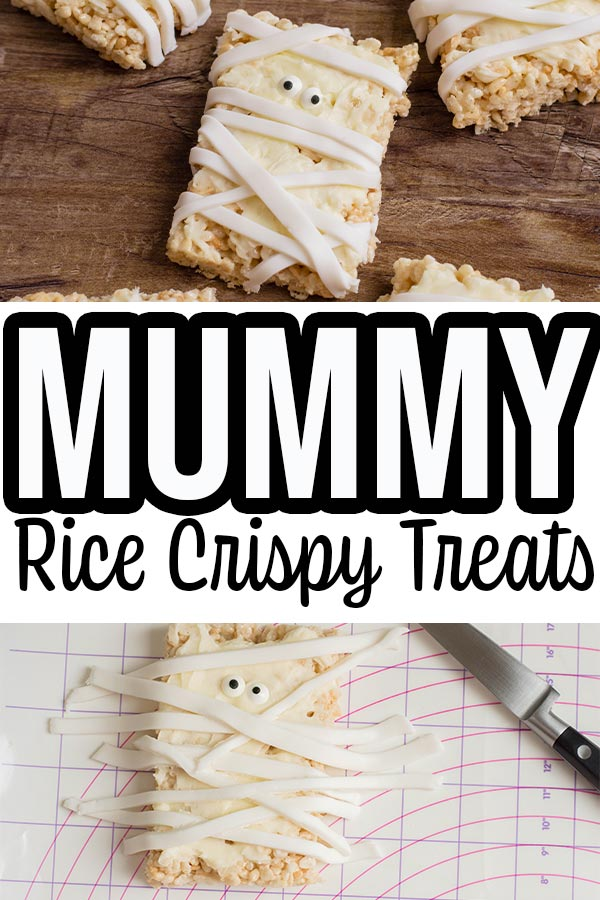 collage of completed mummy rice krispie treats and decorating with fondant