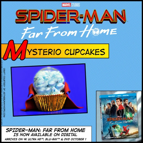 Completed Mysterio Cupcake and movie box cover