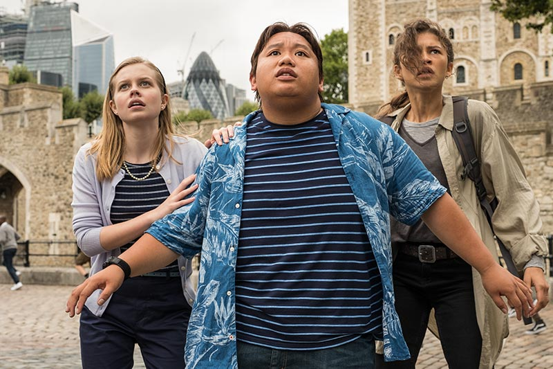 Movie still of Betty, Ned, and MJ