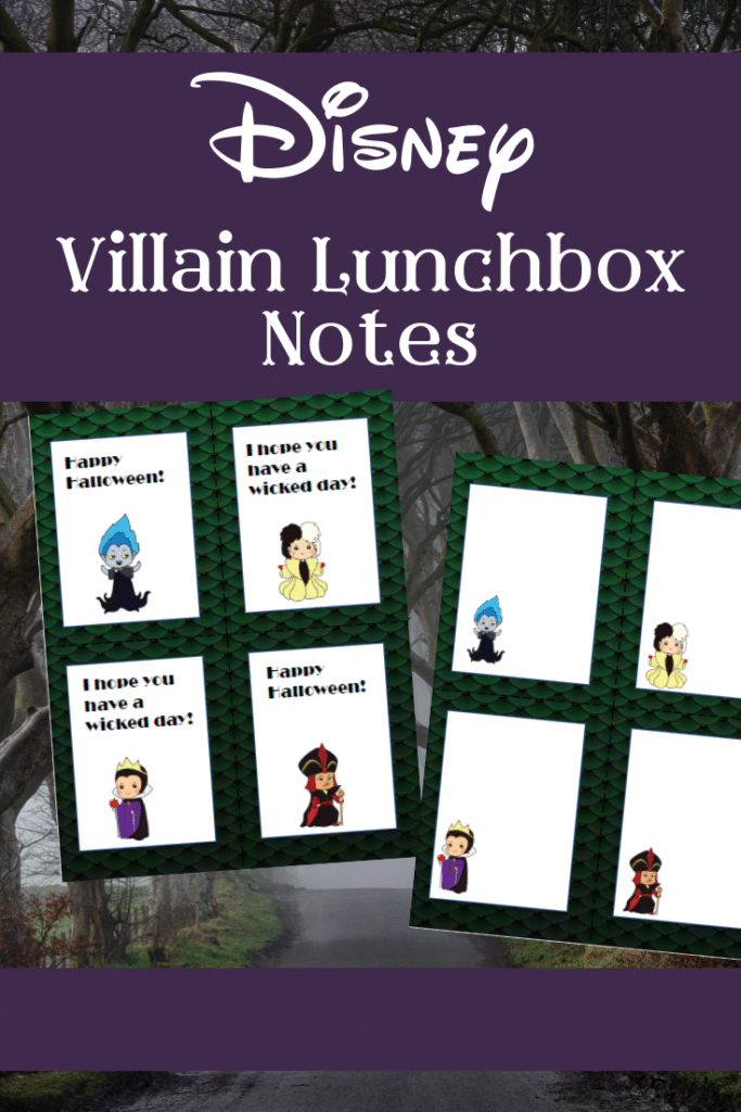 Preview images of printable Disney Villain lunch box notes
