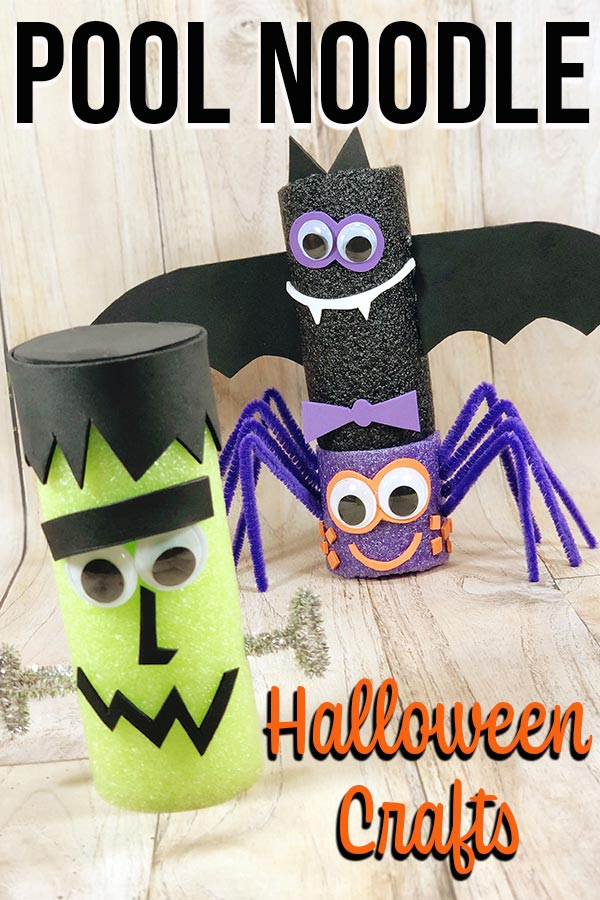 Frankenstein, Bat, and Spider made with pool noodles.