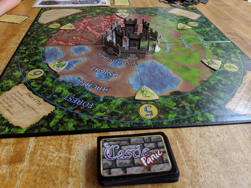 Castle Panic board game set up.