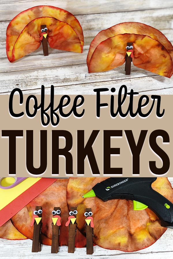 Collage of in process and completed coffee filter turkey craft photos.