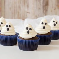 Chocolate Ghost Cupcakes & Marshmallow Buttercream Frosting
