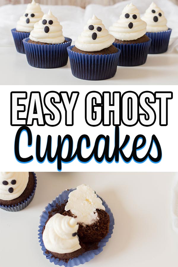 Collage of completed ghost cupcake and cupcake filling images.