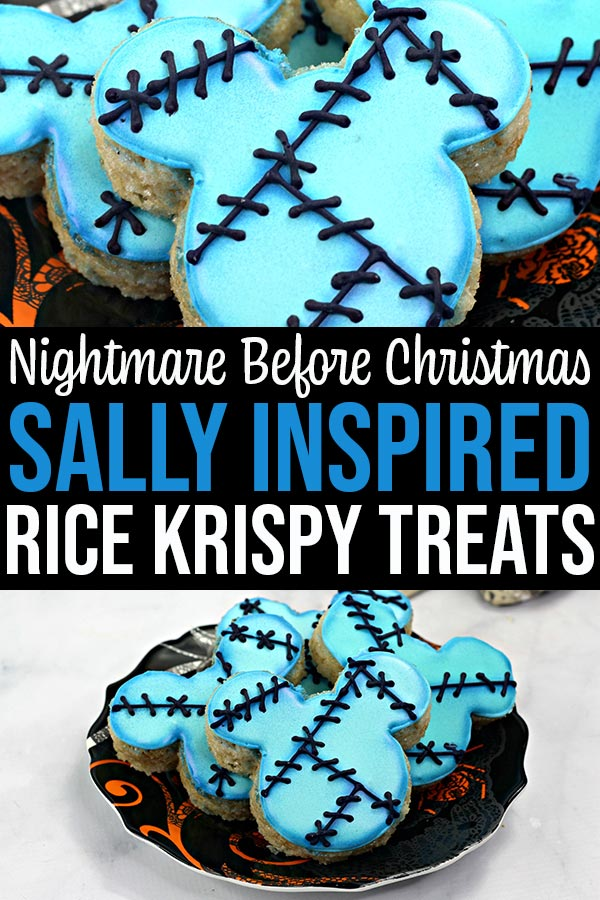 Collage of close up of Sally rice crispy treats and several on a plate.