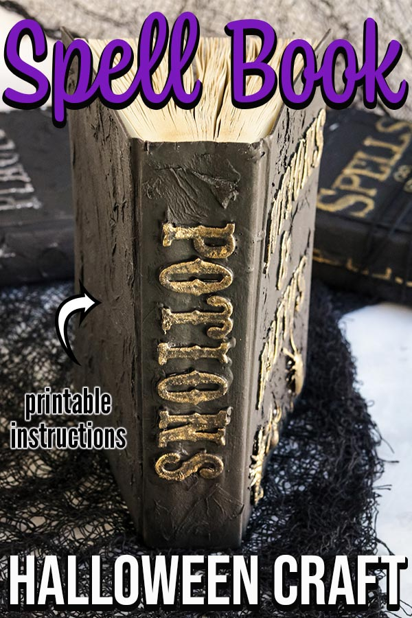 Completed Potion Book Craft standing upright to show book spine