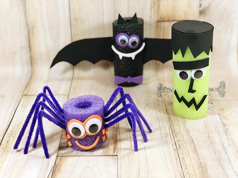 Finished spider, bat, and Frankenstein monster Halloween crafts