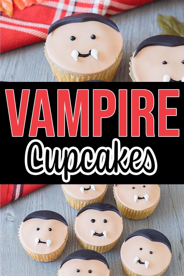 Collage of finished vampire cupcake pictures.