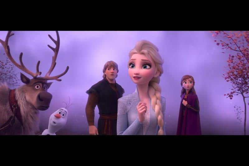 Frozen 2 movie still of Sven, Olaf, Kristoff, Anna, and Elsa with fog behind them.