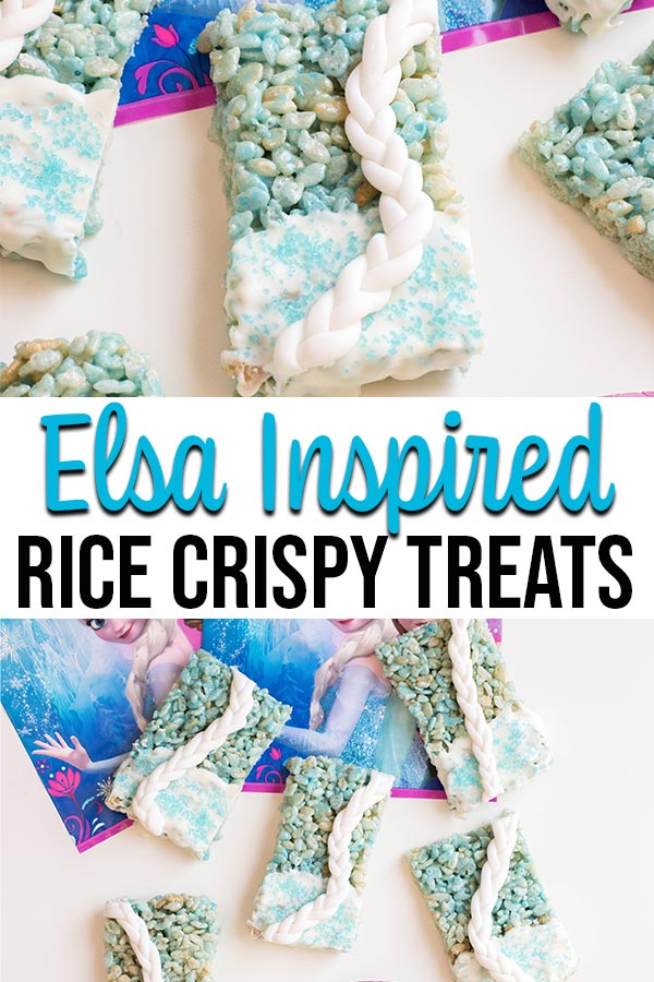 Collage image of completed Elsa inspired rice crispy treats.