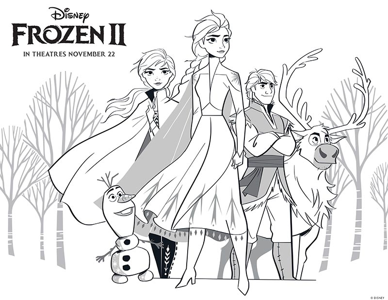 Preview of Frozen 2 coloring page with group of characters standing in front of trees