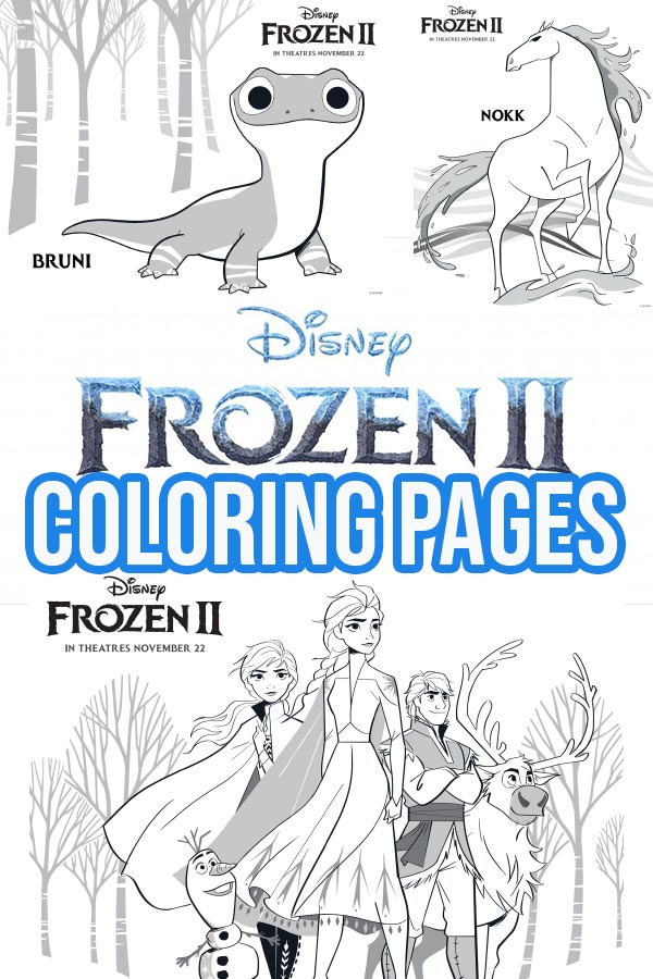 Collage of Frozen 2 coloring page images.