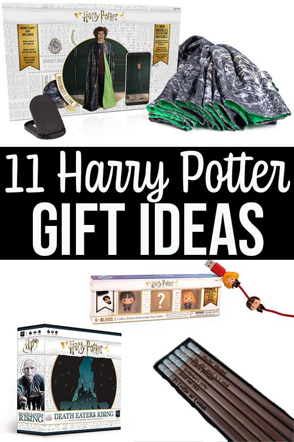 Image collage of Harry Potter items in gift guide with text overlay.