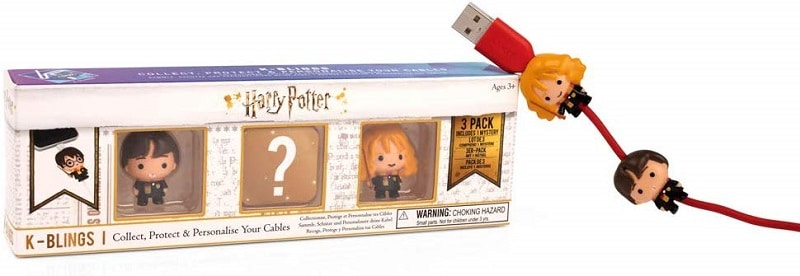 Harry Potter K-Bling product box for set of three and two k-blings on a red charging cord.