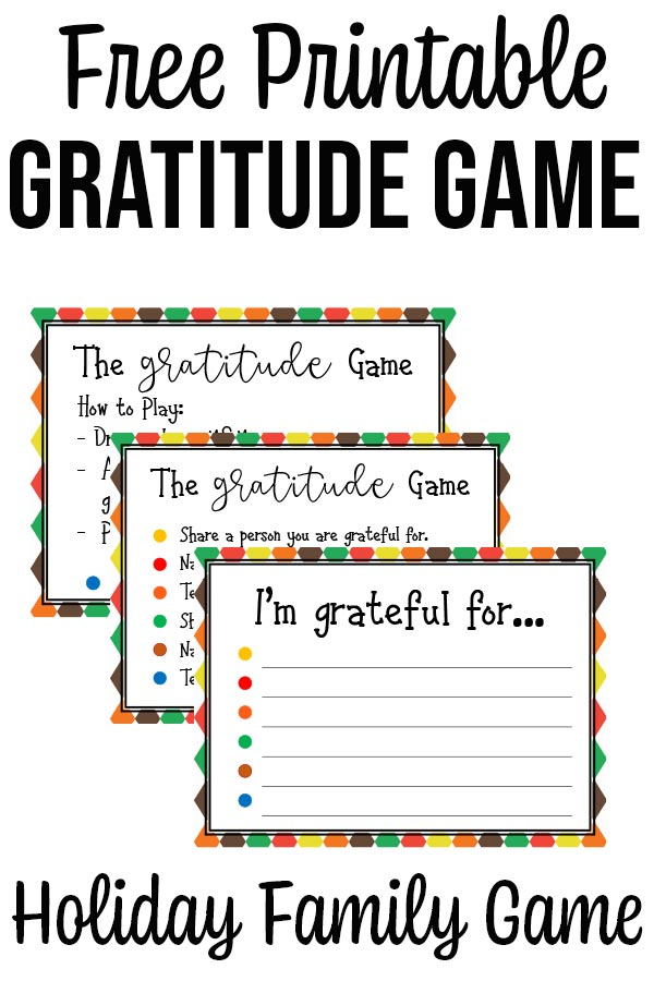 Images of gratitude game sheets with text overlay that says Free Printable Gratitude Game