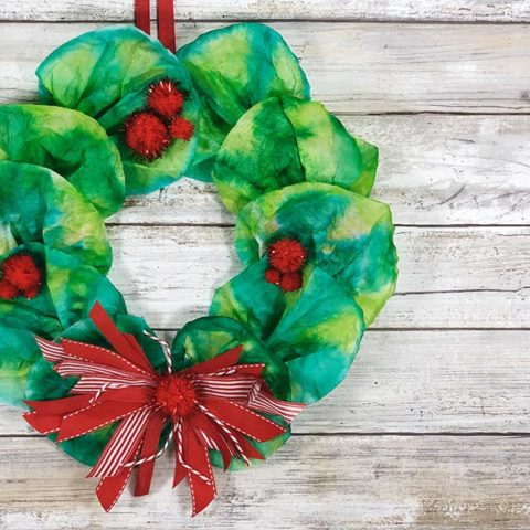 Coffee Filter Wreath Craft for Christmas