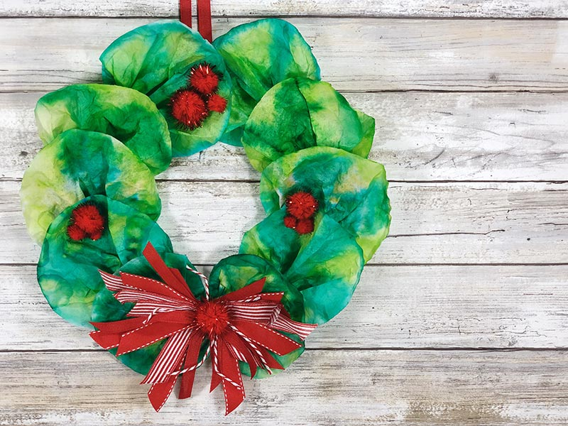Finished wreath craft made with coffee filters.