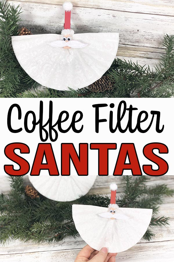 Image collage of completed coffee filter santa crafts with text overlay.