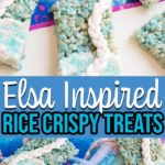 Collage of decorated rice crispy treats inspired by Elsa from Frozen.