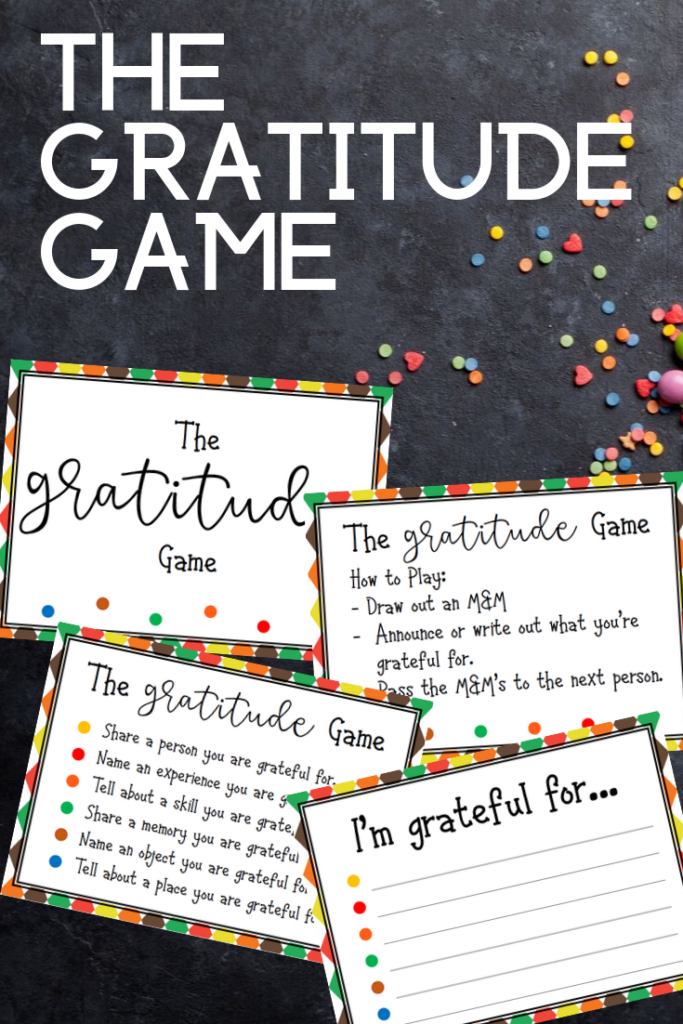 Preview images of pages from printable gratitude game PDF on a black background with assorted small candies scattered around.