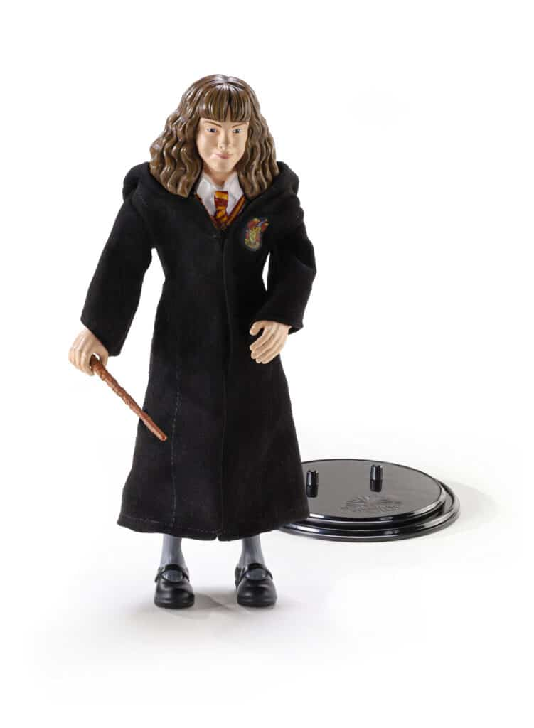 Hermoine from Harry Potter wearing her house robes and holding her wand while next to her display stand on a white background.